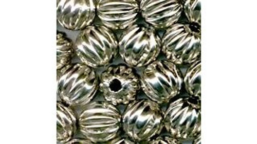 Nickle Plated Hollow Metal Beads (fluted)