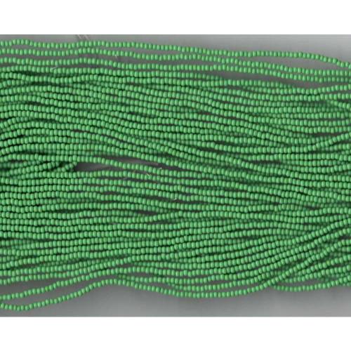 Czech Apple Green Opaque Glass Bead: 11/0