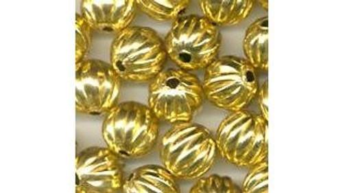 Brass Hollow Metal Beads (fluted)