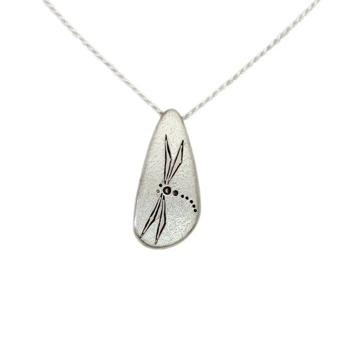 """Native American Made """"Dragonfly"""" Sterling Silver Pendant"""