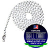 #6 Ball Chains Pre-Cut Three Foot Length White Coated