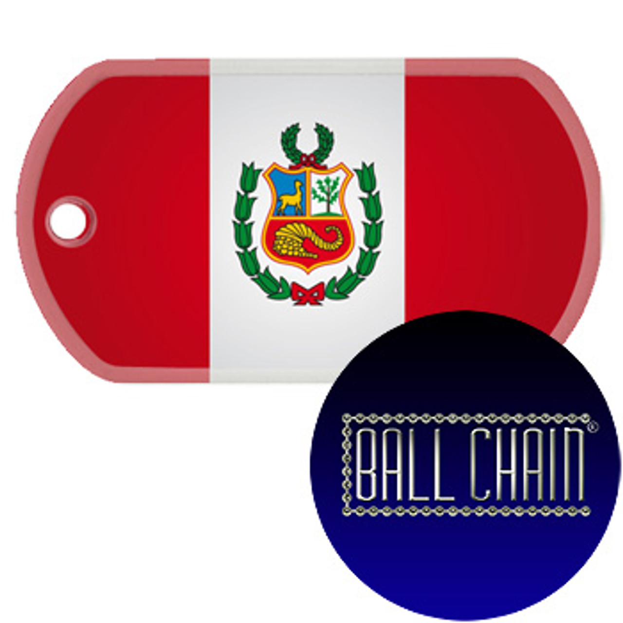 peru flag color printed rolled edge stainless steel dog tag ball