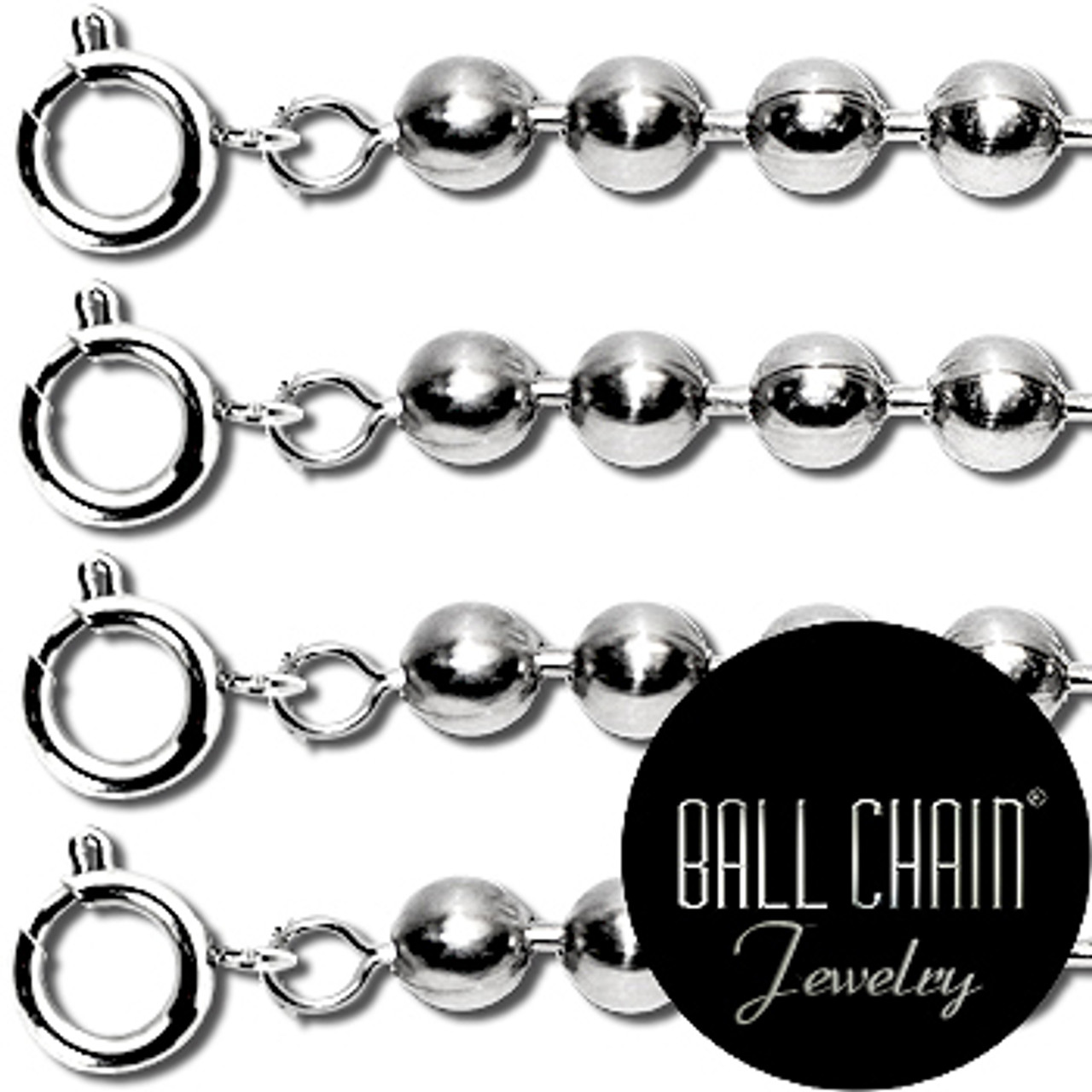 2.1mm Sterling Silver Ball Chains with Spring Ring - 18 Inch Length