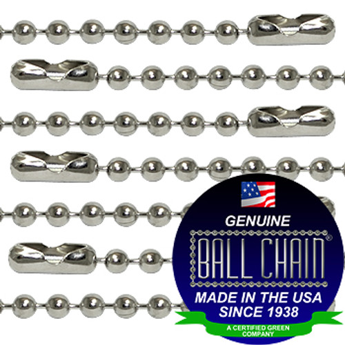 #2 Nickel Plated Brass Ball Chains with Connector - 20 Inch Length
