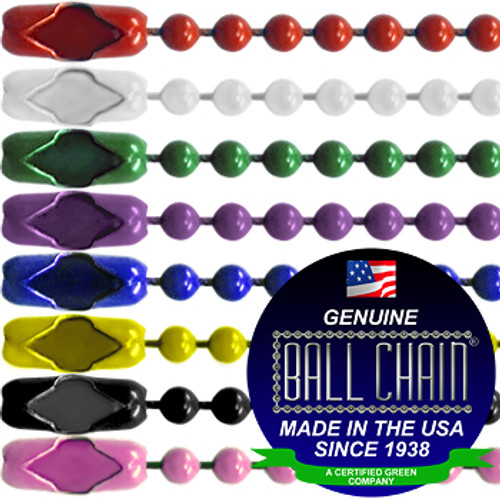 #3 Color Coated Ball Chains with Connector - 24 Inch Length. Available in red ball chain, yellow ball chain, green ball chain, purple ball chain, blue ball, white ball chain, and pink ball chain.  Ball Chain Mfg Made In USA since 1938 seal is on the picture.