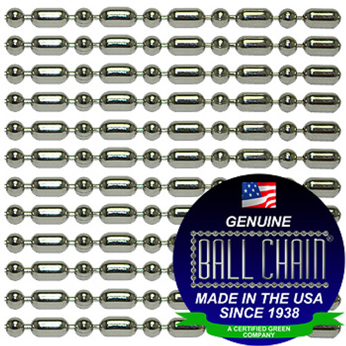 #3 Nickel Plated Steel Ball-Bar Style Ball Chains with Connector - 24 Inch Length.