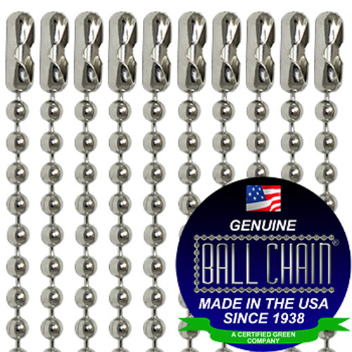 "#3 Nickel Plated Steel Ball Chain necklaces with Connector at one end - 30 Inch Length with Ball Chain Manufacturing seal stating ""made in the usa since 1938"" and ""certified green business"""