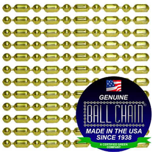#3 Brass Plated Steel Ball-Bar Style Ball Chains with Connector - 30 Inch Length