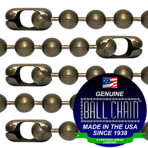 #20 Medieval Brass Finish Ball Chains with Connector - 18 Inch Length