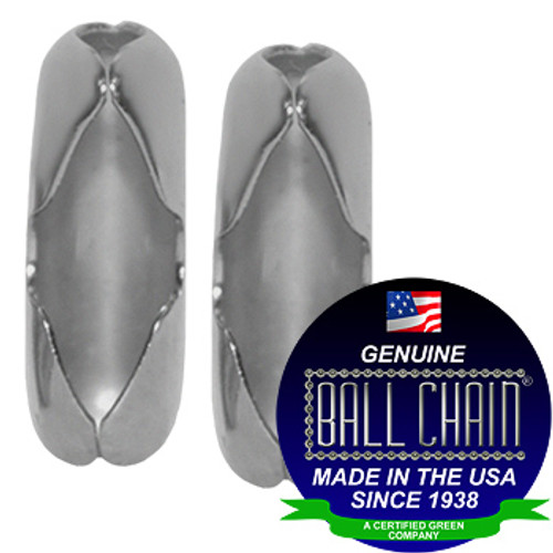 """two #3 Aluminum ball chain Connectors with Ball Chain Manufacturing seal stating """"Made in the usa since 1938"""" and """"certified green business."""