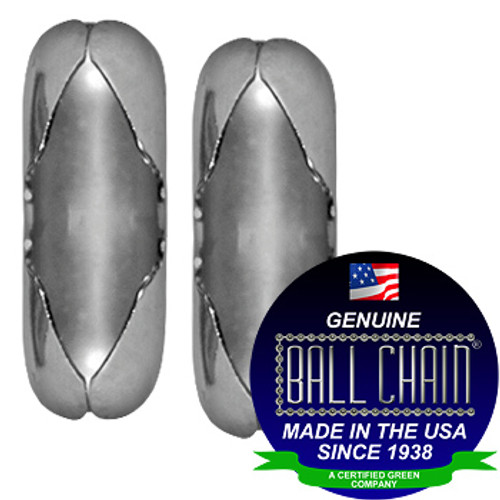 """Two #6 Stainless Steel Ball Chain Connectors with Ball Chain Manufacturing seal stating """"Made in the USA since 1938"""" and """"certified green business""""."""