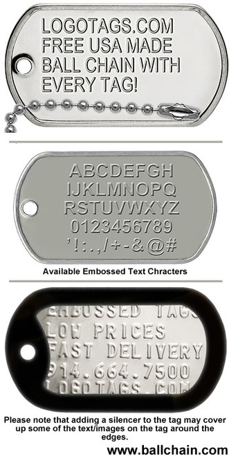 Custom Embossed Text Dog Tag (Polybagged with Ball Chain)