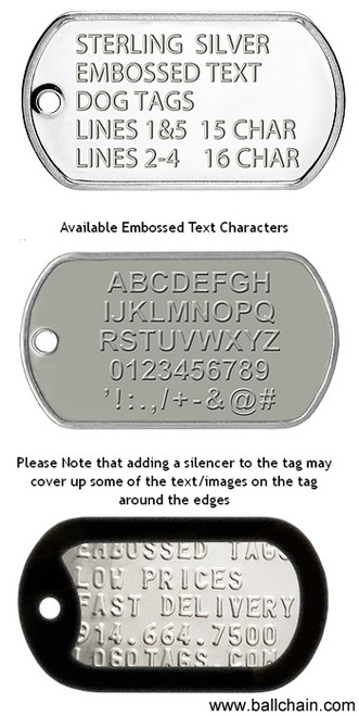 Custom Embossed Sterling Silver Dog Tag with 24 Inch Sterling Silver Ball Chain (2 mm bead diameter)