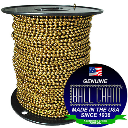 "The #6 antique brown coated ball chain on a black plastic spool with the Genuine Ball Chain Manufacturing stating ""Made In The USA Since 1938"" & ""A certified green company""."