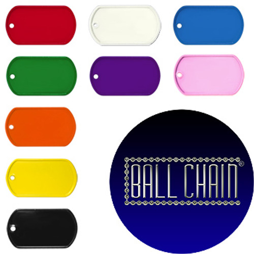 Blank Dog Tags - Rolled Edge Stainless Steel - Various Colors Available