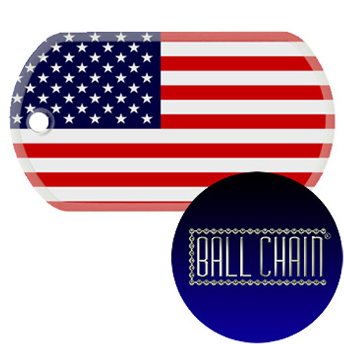 USA Flag Color Printed Rolled Edge Stainless Steel Dog Tag