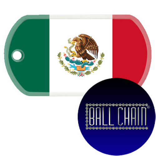 Mexico Flag Color Printed Rolled Edge Stainless Steel Dog Tag