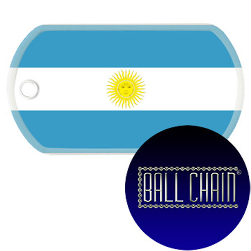 Argentina Flag Color Printed Rolled Edge Stainless Steel Dog Tag