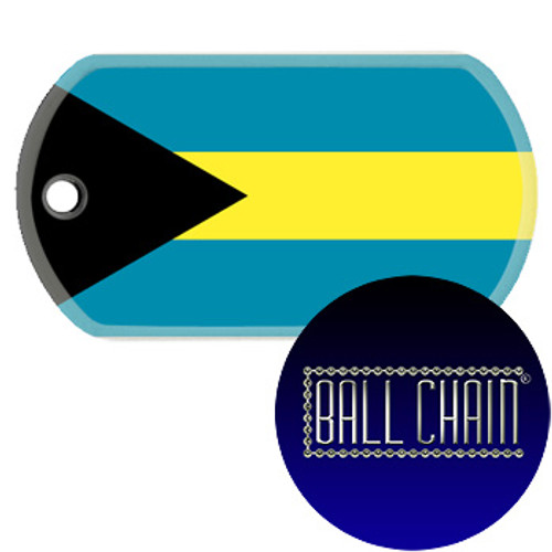 Bahamas Flag Color Printed Rolled Edge Stainless Steel Dog Tag