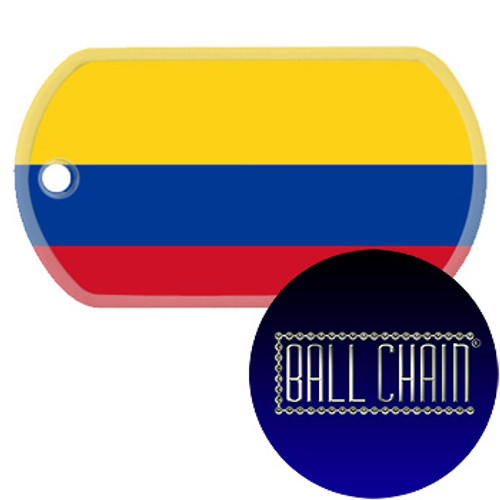 Colombia Flag Color Printed Rolled Edge Stainless Steel Dog Tag