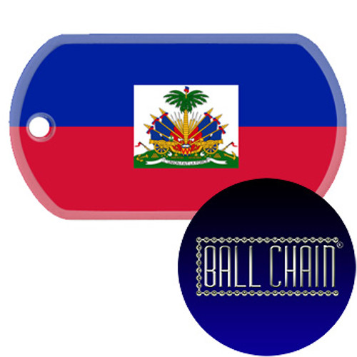 Haiti Flag Color Printed Rolled Edge Stainless Steel Dog Tag