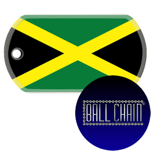 Jamaica Flag Color Printed Rolled Edge Stainless Steel Dog Tag