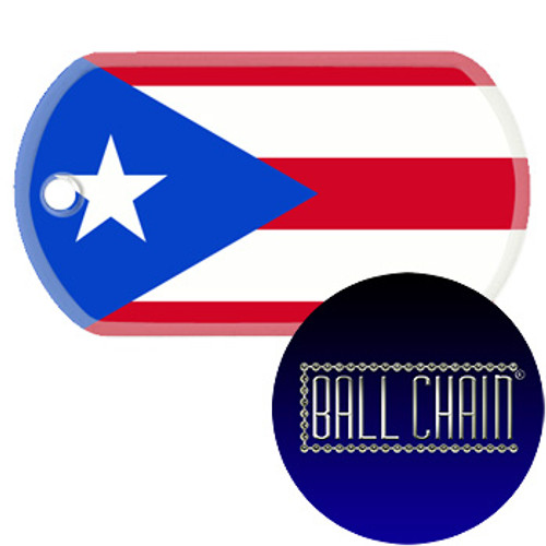 Puerto Rico Flag Color Printed Rolled Edge Stainless Steel Dog Tag