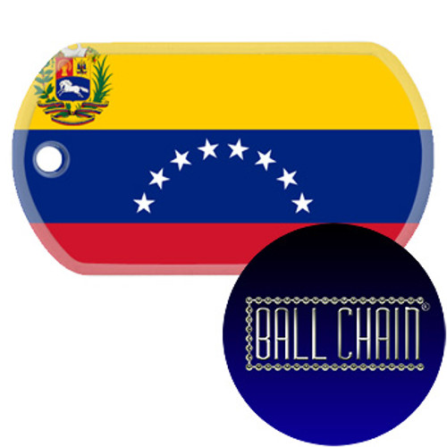 Venezuela Flag Color Printed Rolled Edge Stainless Steel Dog Tag