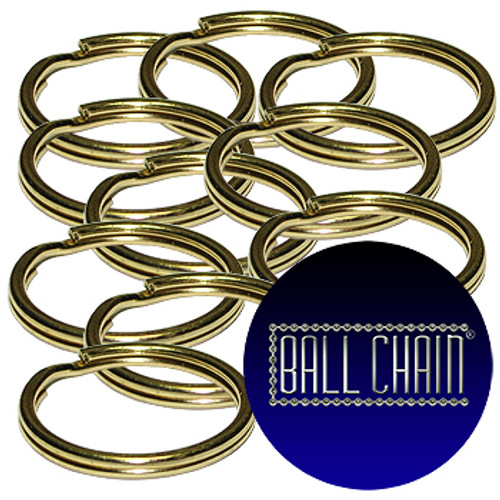 15mm Brass Plated Steel Split Key Rings