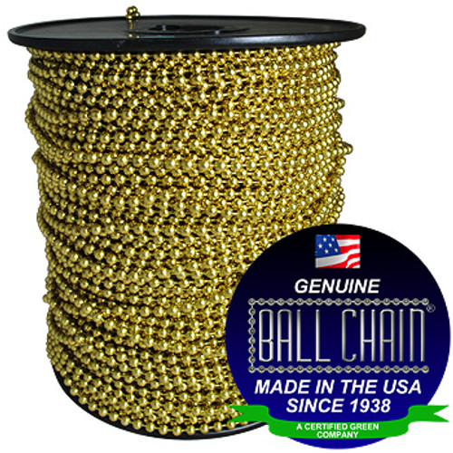"""#10 Brass Plated Steel Ball Chain Spool with Ball Chain Manufacturing seal stating """"Made in usa since 1938"""" and """"certified green business""""."""