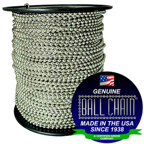 """#10 Nickel Plated Brass Ball Chain Spool with ball chain manufacturing seal stating """"made in the usa since 1938"""" and """"certified green business""""."""