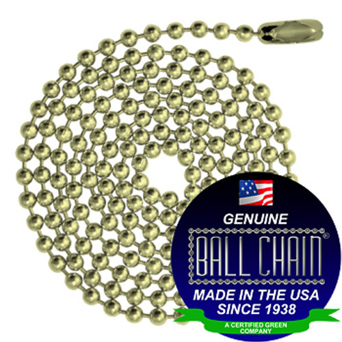 #6 Ball Chains Pre-Cut Three Foot Length Yellow Brass