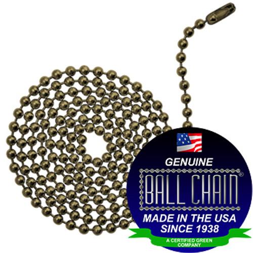 #6 Ball Chains Pre-Cut Three Foot Length Antique Brown