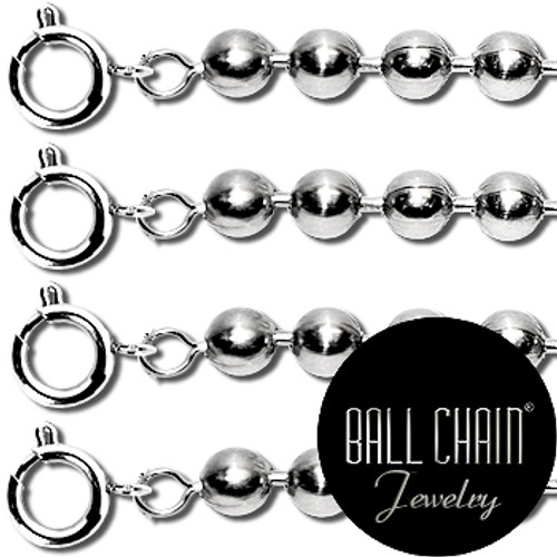 2.4mm Sterling Silver Ball Chains with Spring Ring - 16 Inch Length