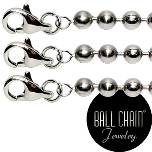 #10 Nickel Plated Brass Ball Chains with Lobster Claw - 18 Inch Length