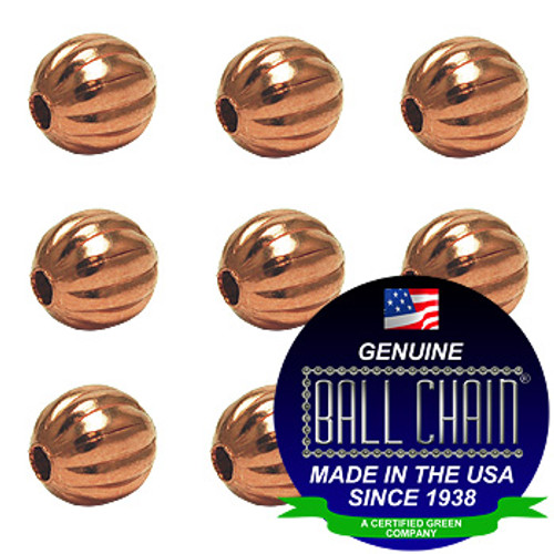 6.3mm Fluted Beads - Copper