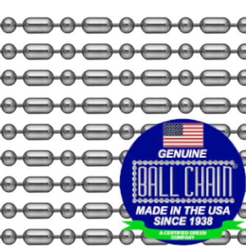 #3 Stainless steel ball bar style n eckchains that are 24 inches in length with the ball chain made since 1938 in the USA seal on the bottom left of the picture.