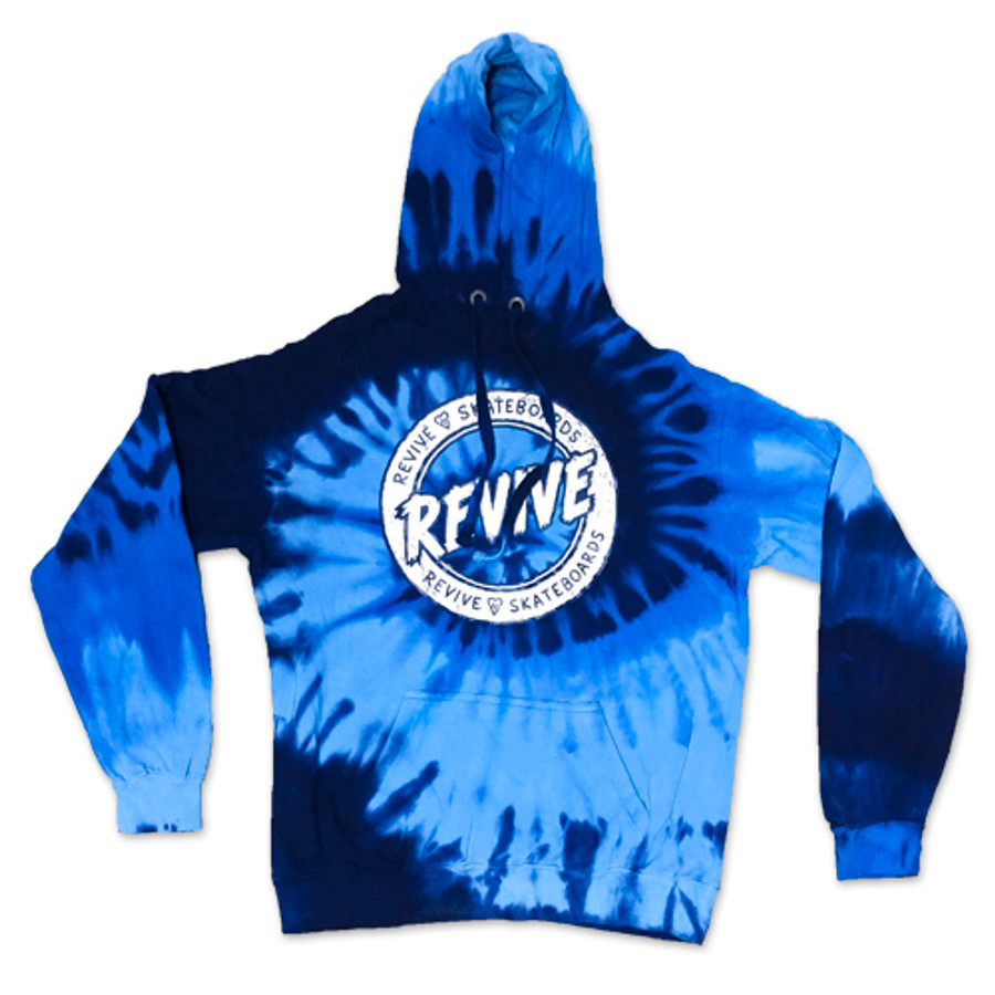 Blue Sketch Circle Tie Dye Pullover - Hoodie