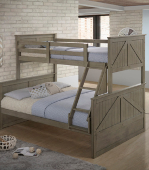 The Simmons Casegoods Ashland Weathered Grey Twin Full Bunk Bed