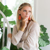 Persimmon Leather Earrings