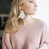 Ivory Knit Leather Earrings