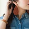 Nickel & Suede Leather Earrings │Rust Knit
