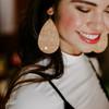 Nickel & Suede Leather Earrings |  Gold Cork
