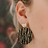 Nickel & Suede Leather Earrings | Gold Rush Disc Statement