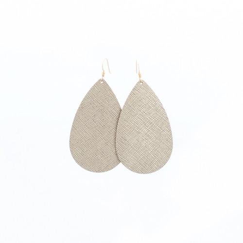 Luxe Linen Leather Earrings  14 kt gold-filled ear wire  Nickel free