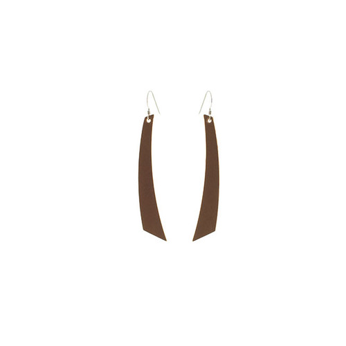 Brown Accent Leather Earrings