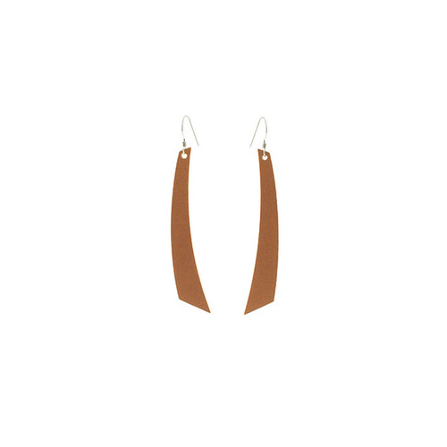 London Tan Accent Leather Earrings