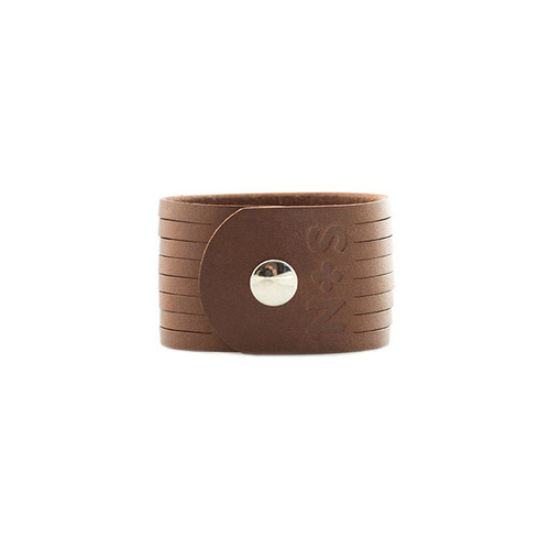Brown Slit Leather Cuff Silver snap