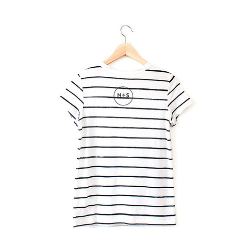 N&S Women's Striped Tee Logo on back