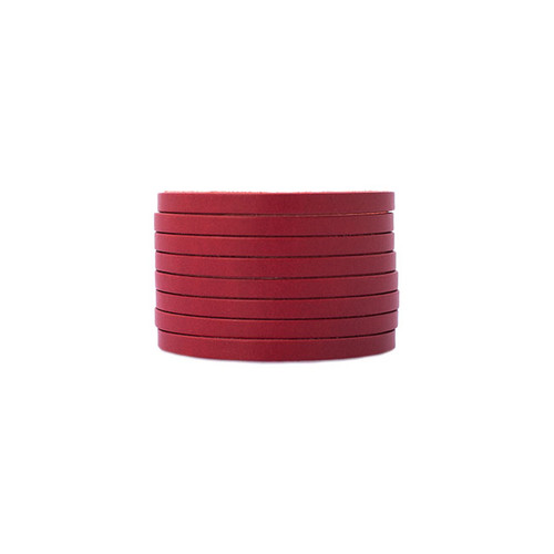 N&S Select Red Slit Leather Cuff Nickel and Suede